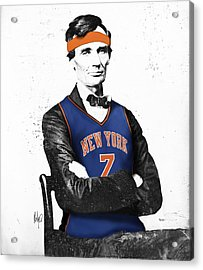 Abe Lincoln In A Carmelo Anthony New York Knicks Jersey Acrylic Print by Roly Orihuela