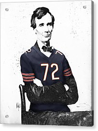 Abe Lincoln In A William Perry Chicago Bears Jersey Acrylic Print by Roly Orihuela