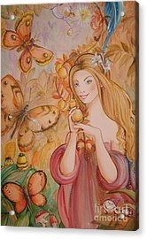 Abigail In The Golden Forest Acrylic Print by Ottilia Zakany