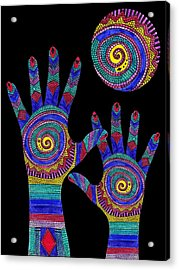 Aboriginal Hands To The Sun Acrylic Print