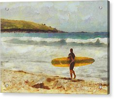 About To Surf Acrylic Print by Pixel Chimp