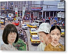 Above A City Street In A City In Southeast Asia Acrylic Print by Jim Fitzpatrick