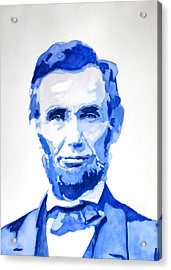 Abraham Lincoln A Study In Blue Acrylic Print