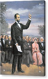 Abraham Lincoln Delivering The Gettysburg Address Acrylic Print by American School