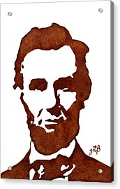 Acrylic Print featuring the painting Abraham Lincoln Original Coffee Painting by Georgeta  Blanaru