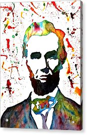 Acrylic Print featuring the painting Abraham Lincoln Original Watercolor Painting by Georgeta Blanaru