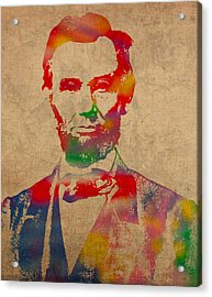 Abraham Lincoln Watercolor Portrait On Worn Distressed Canvas Acrylic Print by Design Turnpike