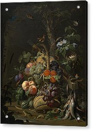 Abraham Mignon Still Life With Fruit Fish And A Nest C 1675 Acrylic Print