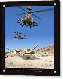 Abrams Battle Tank And Apache Longbow Acrylic Print by Larry McManus