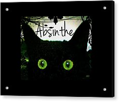 Absinthe Black Cat Acrylic Print by Absinthe Art By Michelle LeAnn Scott