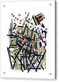 Abstact In Tape And Letterforms One Acrylic Print by Agustin Goba