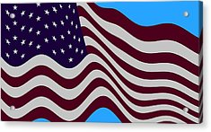 Abstract Burgundy Grey Violet 50 Star American Flag Flying Cropped Acrylic Print by L Brown