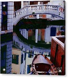 Abstract - Venice Bridge Reflection Acrylic Print by Jacqueline M Lewis