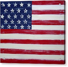 Abstract American Flag Painting Acrylic Print by Holly Anderson