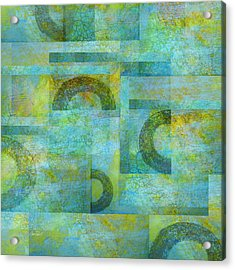 Abstract Art Blue Collage Acrylic Print by Ann Powell