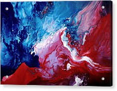Abstract Art Blue Red White By Kredart Acrylic Print by Serg Wiaderny