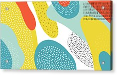 Abstract Art Color Vector  Lines And Acrylic Print by Chaluk