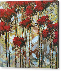 Abstract Art Decorative Landscape Original Painting Whispering Trees I By Madart Studios Acrylic Print by Megan Duncanson