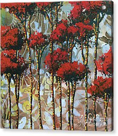 Abstract Art Decorative Landscape Original Painting Whispering Trees II By Madart Studios Acrylic Print by Megan Duncanson