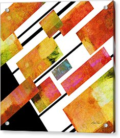 abstract art Homage to Mondrian Square Acrylic Print by Ann Powell