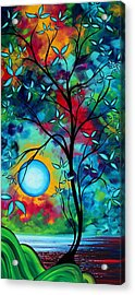 Abstract Art Landscape Tree Blossoms Sea Painting Under The Light Of The Moon I  By Madart Acrylic Print