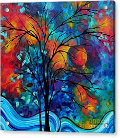Abstract Art Landscape Tree Bold Colorful Painting A Secret Place By Madart Acrylic Print by Megan Duncanson