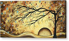 Abstract Art Metallic Gold Original Landscape Painting Colorful Diamond Jubilee By Madart Acrylic Print by Megan Duncanson