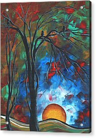 Abstract Art Original Colorful Bird Painting Spring Blossoms By Madart Acrylic Print by Megan Duncanson