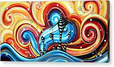 Abstract Art Original Colorful Funky House Painting Home On The Hill By Madart Acrylic Print by Megan Duncanson