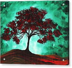 Abstract Art Original Colorful Tree Painting Passion Fire By Madart Acrylic Print by Megan Duncanson
