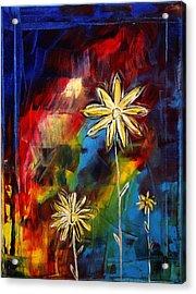 Abstract Art Original Daisy Flower Painting Visual Feast By Madart Acrylic Print by Megan Duncanson