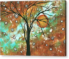 Abstract Art Original Landscape Painting Bold Circle Of Life Design Autumns Eve By Madart Acrylic Print by Megan Duncanson