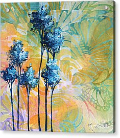 Abstract Art Original Landscape Painting Contemporary Design Blue Trees I By Madart Acrylic Print by Megan Duncanson