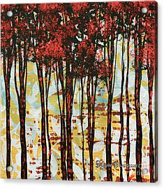 Abstract Art Original Landscape Painting Contemporary Design Forest Of Dreams I By Madart Acrylic Print by Megan Duncanson