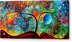 Abstract Art Original Landscape Painting Metallic Gold Textured Blue Moon Rising By Madart Acrylic Print by Megan Duncanson