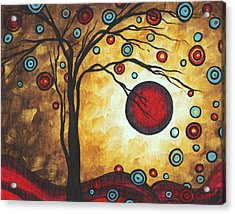 Abstract Art Original Metallic Gold Landscape Painting Freedom Of Joy By Madart Acrylic Print by Megan Duncanson
