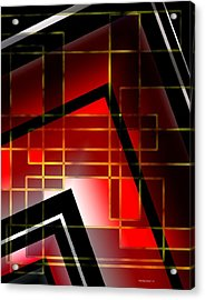 Abstract Art With Lines On Red  Acrylic Print by Mario Perez