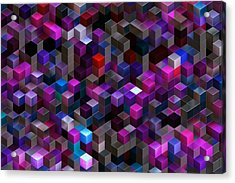 Abstract Background Of Multi-colored Cubes Acrylic Print by Oxygen