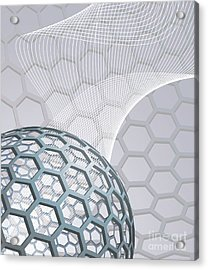 Abstract Background With Buckyball Acrylic Print by Christos Georghiou