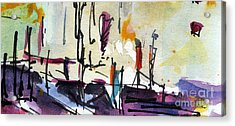 Abstract Barcelona Intuitive Abstract Watercolor And Ink Acrylic Print by Ginette Callaway