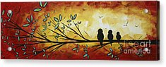 Abstract Bird Landscape Tree Blossoms Original Painting Family Of Three Acrylic Print by Megan Duncanson