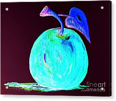Abstract Blue And Teal Apple On Black Acrylic Print by Eloise Schneider