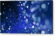 Abstract Blue Bokeh Sparkling Spray Circle Acrylic Print by Oxygen