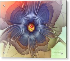 Abstract Blue Flower In Sunday Dress Acrylic Print by Karin Kuhlmann