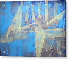 Acrylic Print featuring the painting Abstract Blue Landscape by John Fish