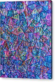Abstract Blue Rose Quilt Acrylic Print