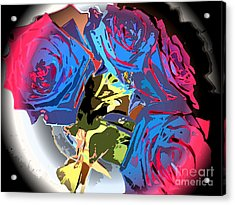 Abstract Cluster Of Roses Acrylic Print by Minding My  Visions by Adri and Ray