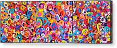 Abstract Colorful Flowers Triptych  Acrylic Print