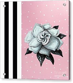 Abstract Contemporary Whimsical Pink Painting Gardenia Flower By Madart Acrylic Print by Megan Duncanson