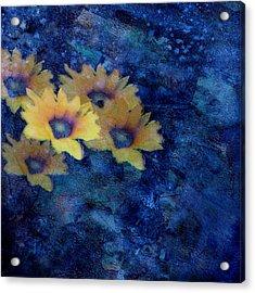 Abstract Daisies On Blue Acrylic Print by Ann Powell